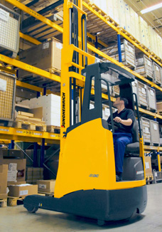 side seated reach truck is safer, less operator fatigue and more productive operator
