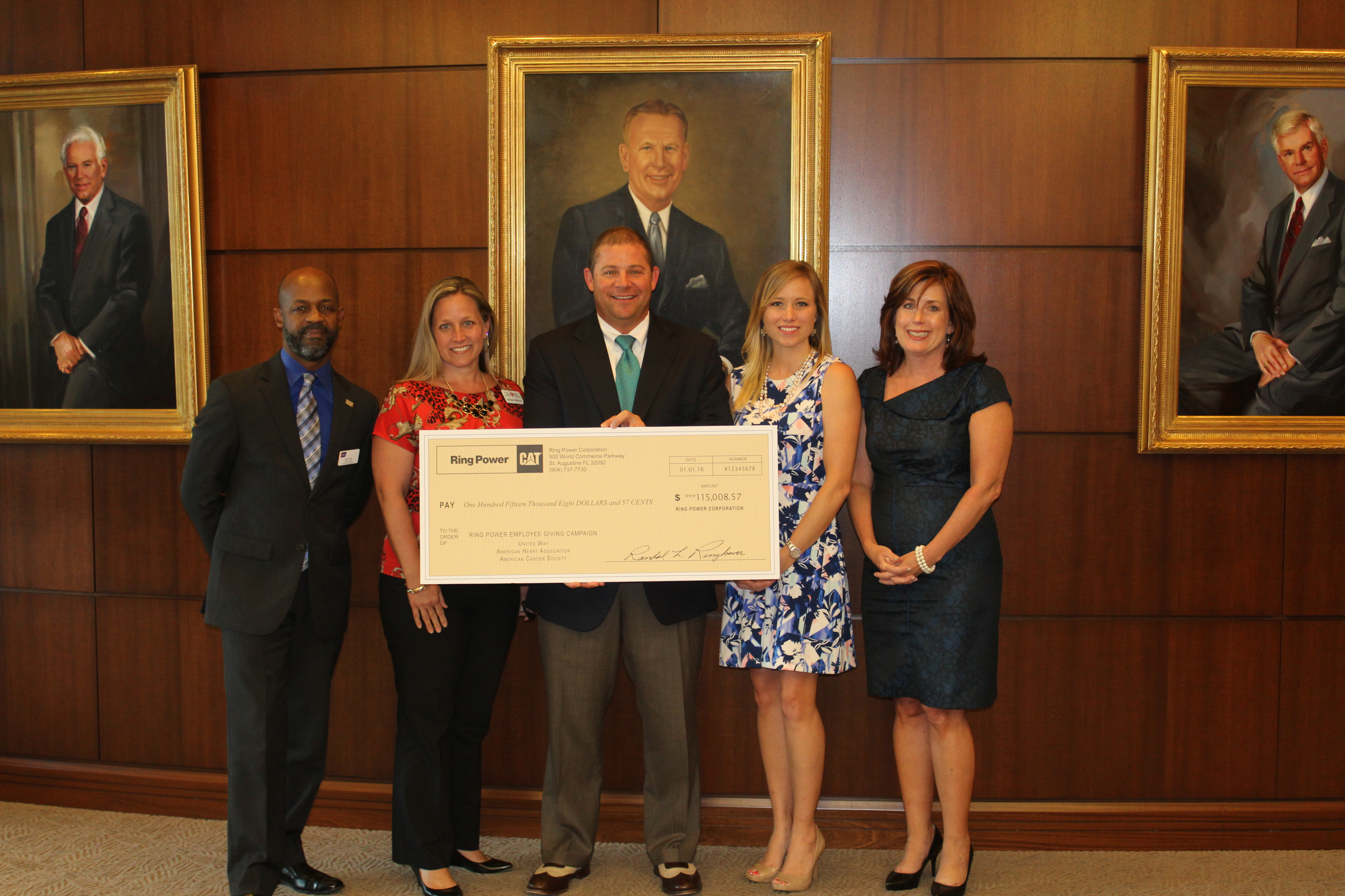 Pictured left to right: Mel Toran of the American Cancer Society, Allison Misora of the American Heart Association, David Alban, Victoria Reynolds and Melissa Nelson of the United Way of St. Johns County.