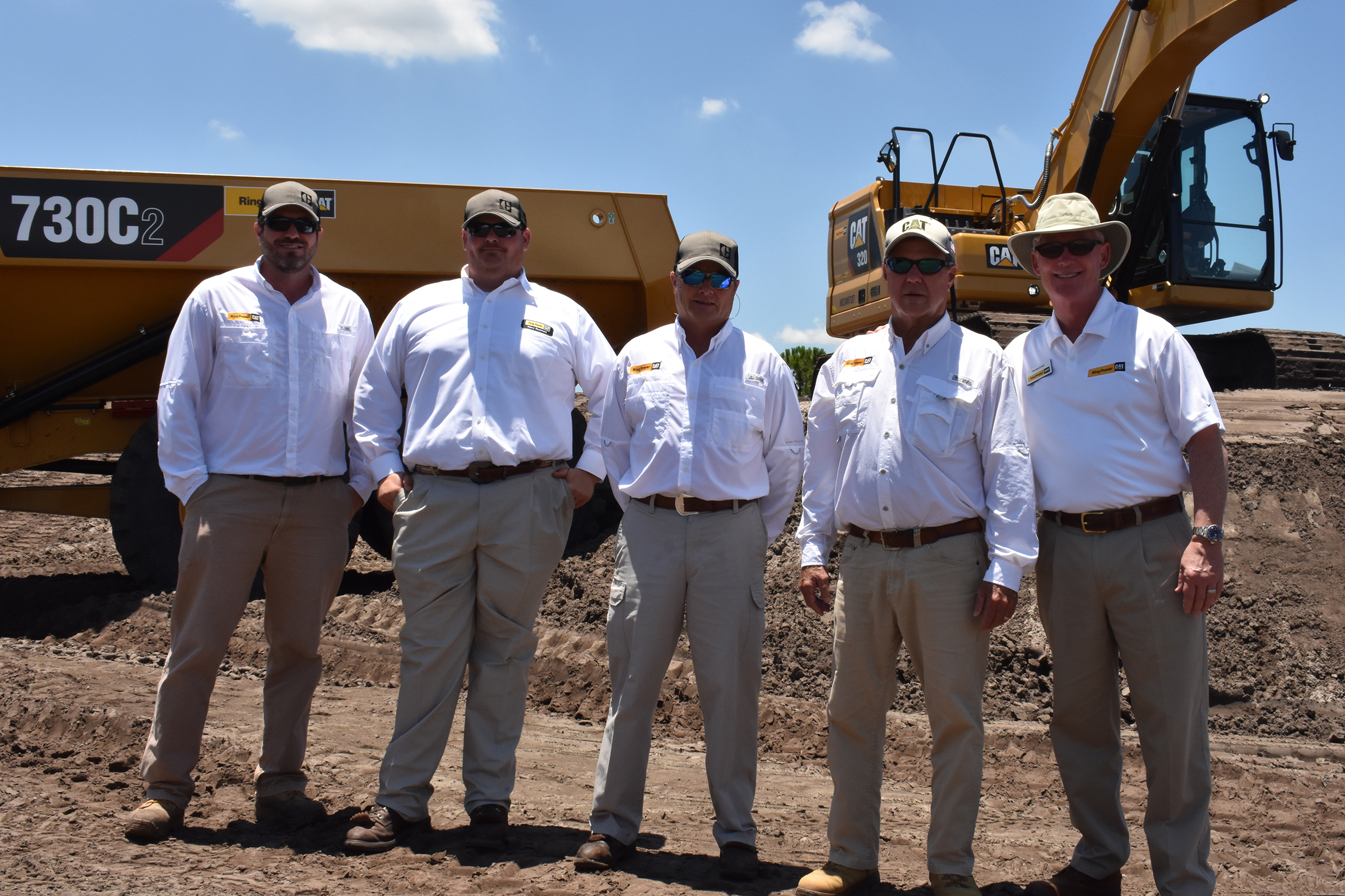 For Ring Power's team of demo operators, demo-ing equipment is just one part of the job.   Pictured left to right: Blake Conwell, Bryce McGuire, Mike Oster, Curt Loucks, and Tim Maguire (SVP, HE Director of New Sales)