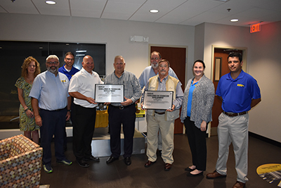 Members of the Ring Power training team receive the Technician Career Development Process Assessment Certification. L-R: Terri Brown, Clyde Rogers, Devin Rawn, Darrin Symonds, Chip Handley, Roy Morrison, Gabe Sacco, Amanda Anders, Abel Posada.