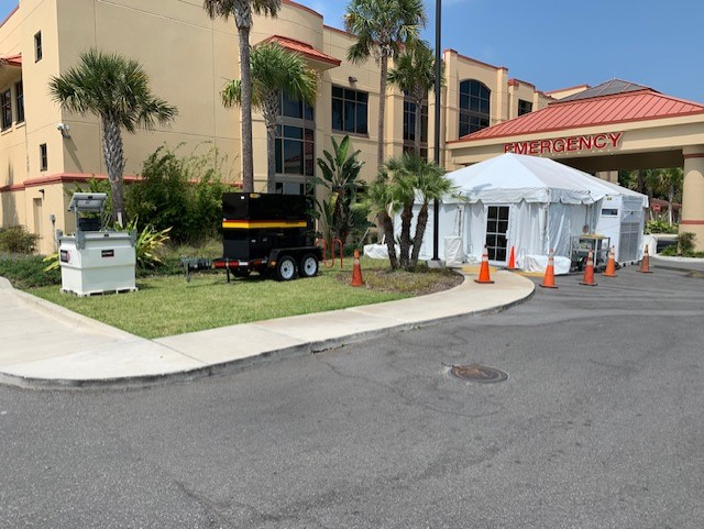 Leesburg Regional is utilizing a 60 kW generator to supply power to a surge tent. Also onsite, 1x20 ton AC & distro for medical equipment.