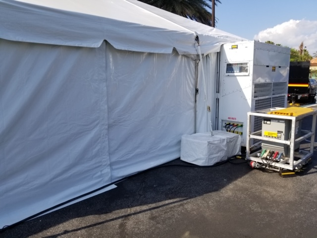 The Villages Regional is utilizing a 60 kW temporary power unit, 250-gallon auxiliary fuel cell, 1x20ton ac & distro for an overflow tent & medical equipment.
