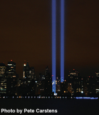 Two beams of light representing the Twin Towers mark the seventh anniversary of the September 11 attacks.