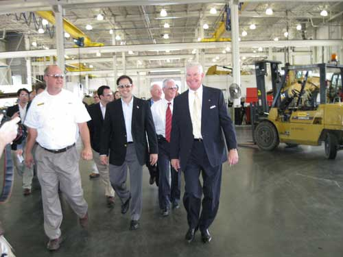 Marco Rubio tours Ring Power facility in St. Augustine with Randy Ringhaver, Chris Tomkinson and Tim Maguire