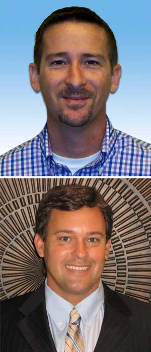 construction equipment sales managers: Jerry Burford (top) and Brian Cholmondeley