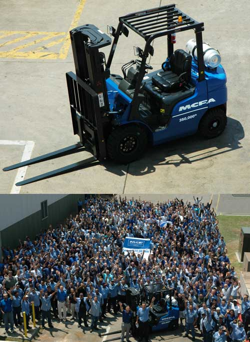 The MCFA forklift, number 350,000, will be used in fabrication and assembly tasks around MCFA facilities.